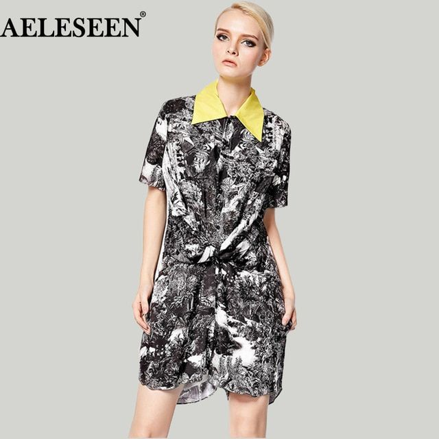 Fashion Jumpsuit  2017 New Fashion Women's  Casual Short-Sleeve Vintage Turn-down Collar Landscape Print Casual Jumpsuit