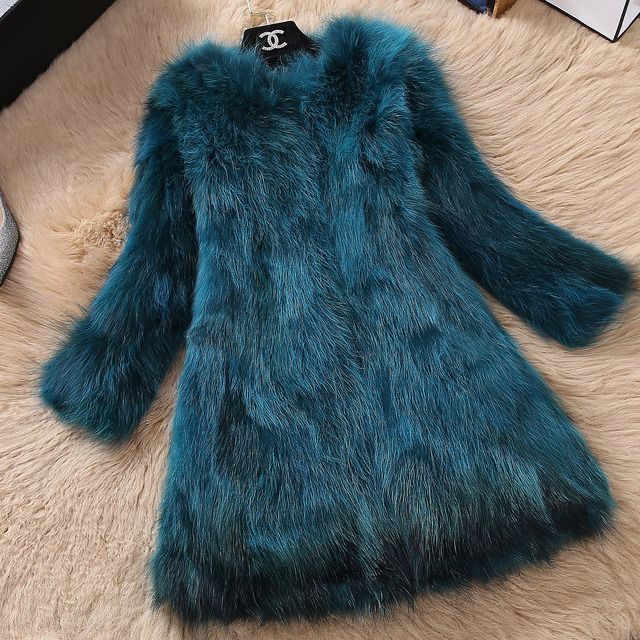 2016 New Korean Female Short Fox Fur Collar Nine Long Slim Raccoon Fur Coat
