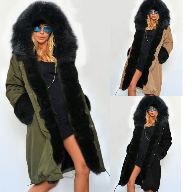 Slim Warm Winter Jacket Parkas Imitation Mink Hair Cap Collar Long Coat Hooded Cotton Thick Coat Femme Outwear Free Shipping