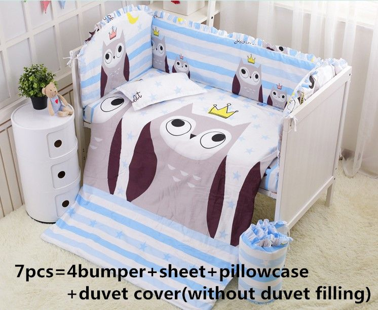 Promotion! 6/7PCS owl crib sheet sets Cot bumpers.Baby sheet.100% cotton baby bedding set  , 120*60/120*70cm