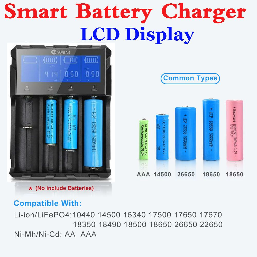 Smart Battery Charger With LCD Display Rechargeable USB Charger for 26650 22650 18650 18500 18350 17670 14500 Lithium Battery
