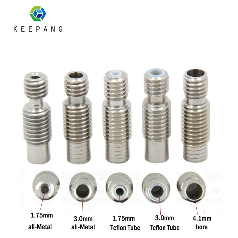 5Pcs Extruder 3D printer parts V6 HeatBreak Hotend Throat For 1.75 or 3.0mm Filament With PTFE or All-Metal Feeding Tube Pipes
