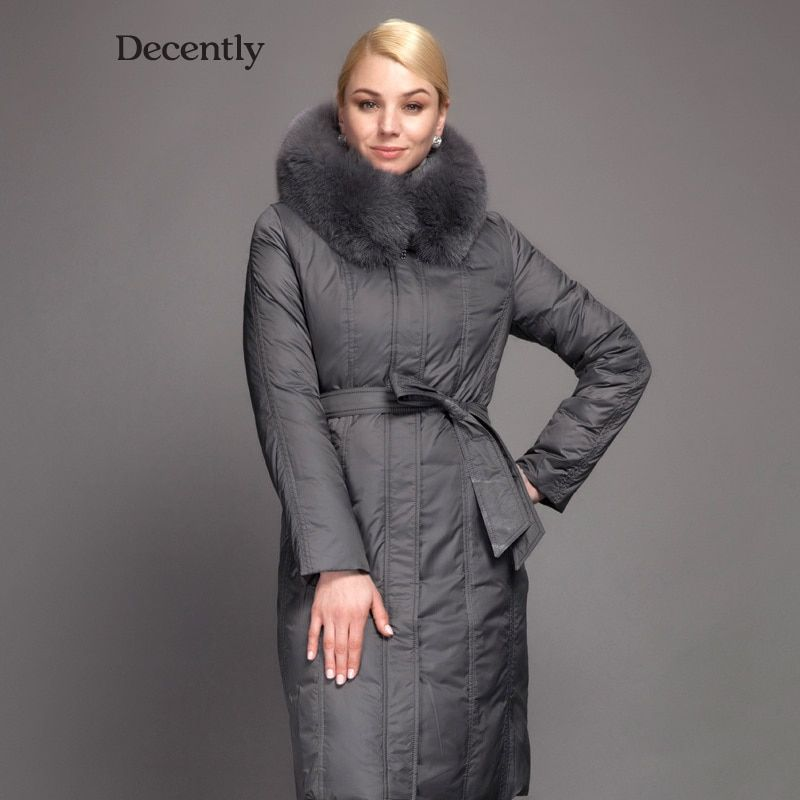 Decently 2017 Winter Women Long Down Jacket Fashion Coat Duck Down  Hooded Pocket Natural Fox Fur Collar 1A1014
