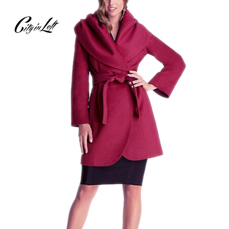 Women Winter Autumn Woolen Coat Suede Large Shawl Collar Long Sleeve Waist Adjustable Elegant Slim Long Trench Causal Coat 469