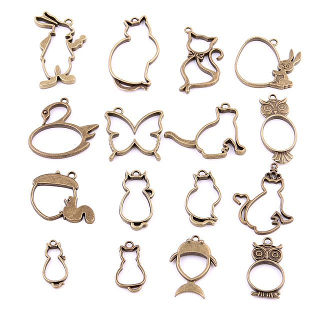 16PCS Mixed Antique bronze Hollow butterfly  rabbit cat owl Charms Pendant Jewelry Making Diy Charm Handmade Crafts H3006
