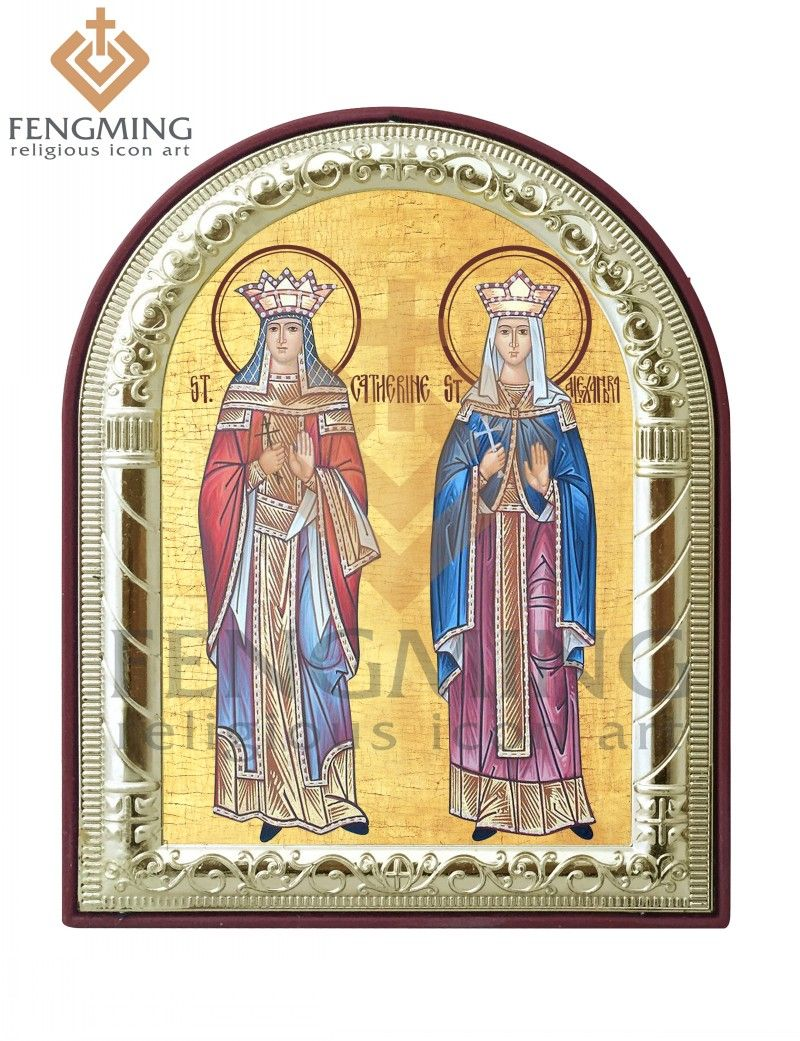 New design Eastern orthodox religious articles saint Catherine and Alexandra Christian symbols metal silver theotokos icon