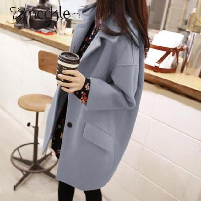 Korean Style Women's Wool Coat And Blends 2016 Autumn Winter Fashion Drop Shoulder Loose Long Woolen Outwear Coats Abrigos Mujer