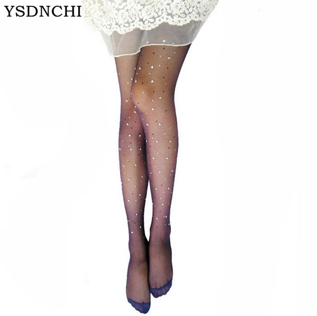NEW Sexy Tights Women ladies BASIC Stretch Woman Fishnet Sexy Thin Lolita Strumpfhose Crystal Rhinestone Pantyhose Stockings