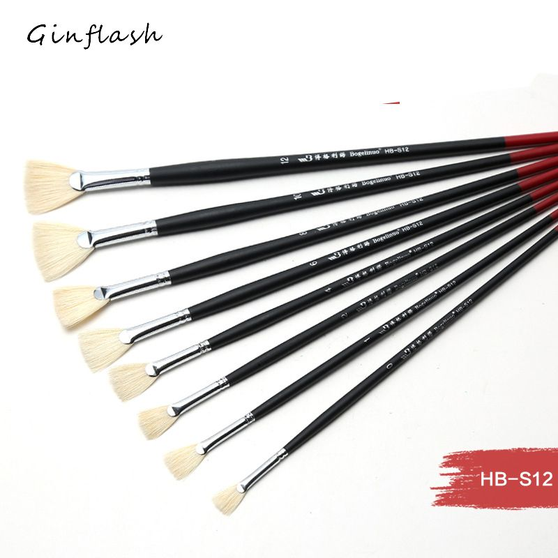 1pc ART Paint Brush Single inferior smooth double-color handle bristle pig hair brush tail Acrylic Oil painting brush AHB014