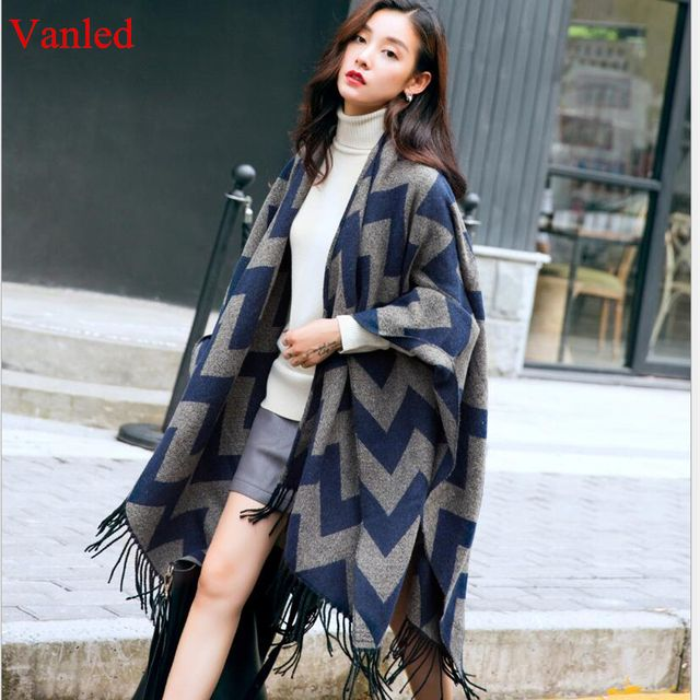 Women cashmere scarf winter ponchos and capes plus size thick warm shawls and wraps femme blanket scarf striped cardigans poncho