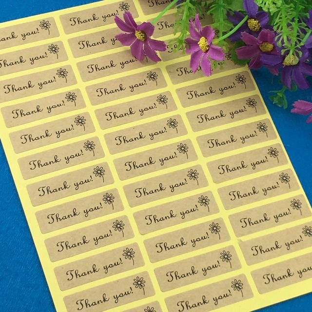 "Fashion kraft 5000PCS/Lot 4.5x1.3 rectangle Printed above""Thank You"" Sticker Labels Adhesive Stickers DIY For Box/gift/envelope"