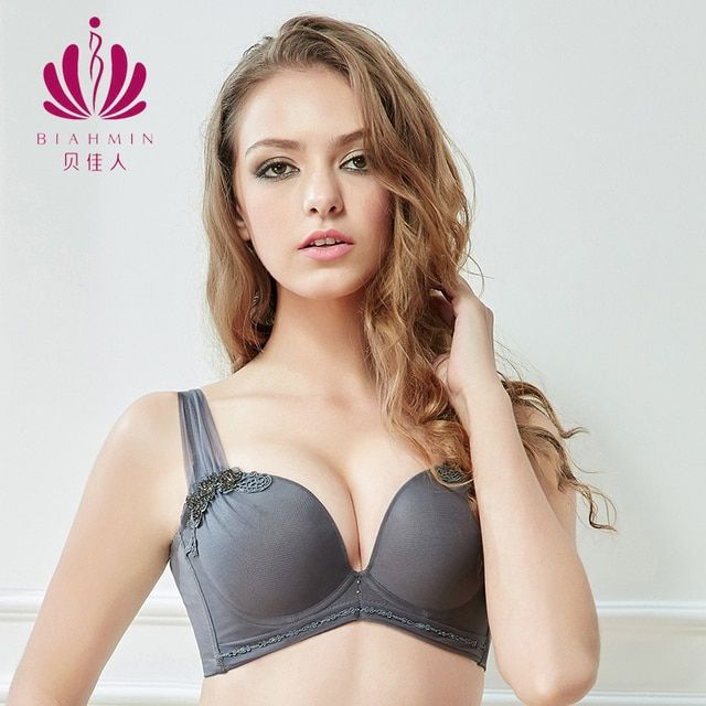 Brahmin Pushup bh Ladies Girls Bra Solid Grey Seamless Teenager Sexy Bra Thick Cup A B Correction Deep Plunge bh Bras For Women