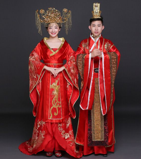 Chinese traditional dress Classical Wedding Red wedding dress Cheongsam Han Chinese clothing