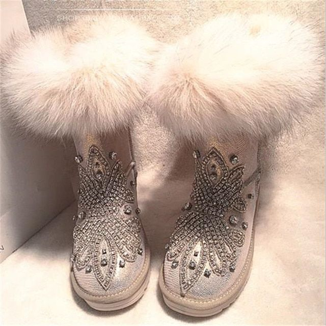 2017 Botines Mujer Slip On Round Toe Flat With Solid Plush Synthetic Crystal Decoration Mid-Calf Snow Boots Shoes Women Boots