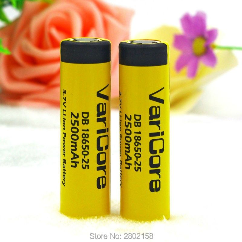 2 PCS. VairCore DB-18650-25 18650 3.7 V 2500 mAh IMR18650 35A charged battery High Capacity 20A maximum switching descargaE4