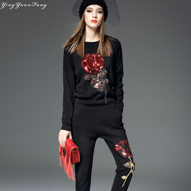 YingYuanFang XL black suit, women roses embroidered sequined sweater + pants two-piece,Knitted fabrics and delicate,high-quality