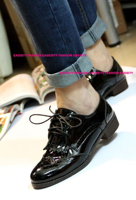 fashion black patent leather women shoes preppy style tassel oxford lace up casual shoes