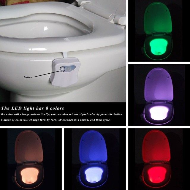 8 Color Toilet Lamp Body Sensor Light Automatic Sensor Toilet Toilet