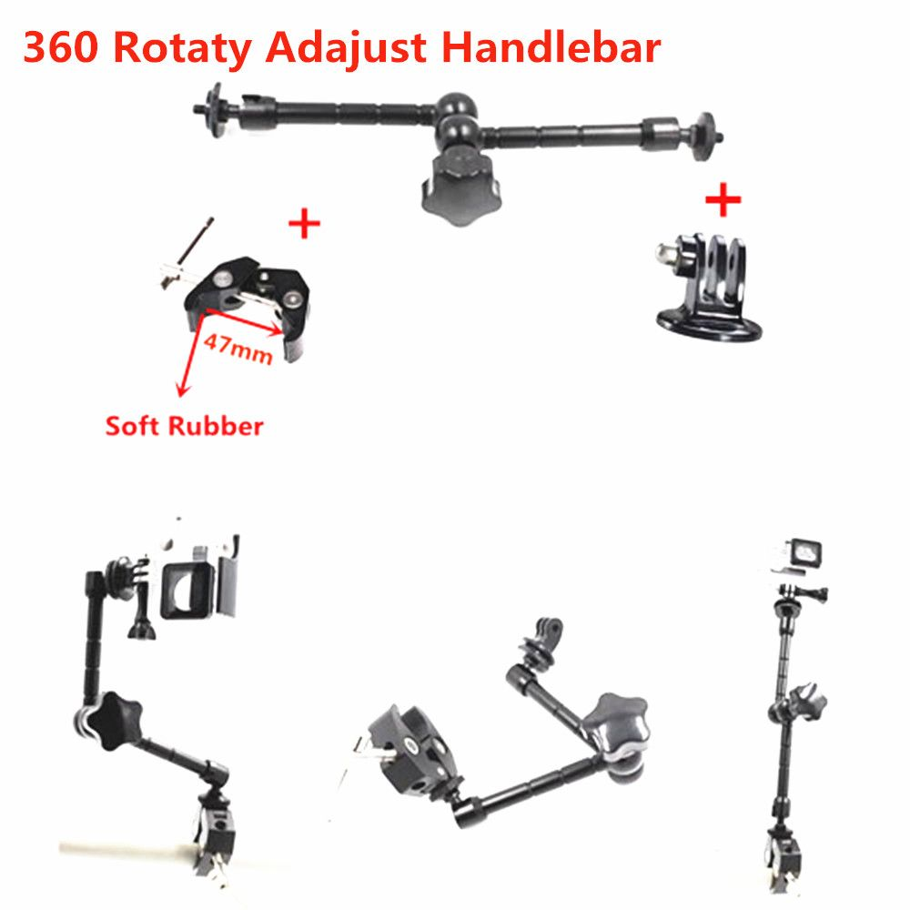 Aluminum Gimbal Magic Arm Mount+Bike Bicycle Motorcycle Handlebar Mount Tripod Adaptor For Gopro Hero 6 hero 5 4 Session 3 3+