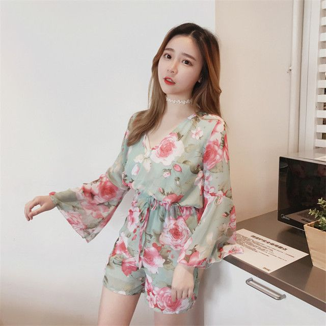 Korea Retro Fashion Flowers Speaker Sleeves Tied Belt Jumpsuits Vacation Pastoral Ladies Playful Sweet Goddess Playsuits
