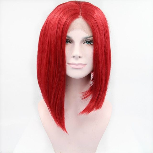 Sylvia Red Bob Hair Wigs Glueless Hand Tied Synthetic Lace Front Wig Heat Resistant Fiber Hair For  Women