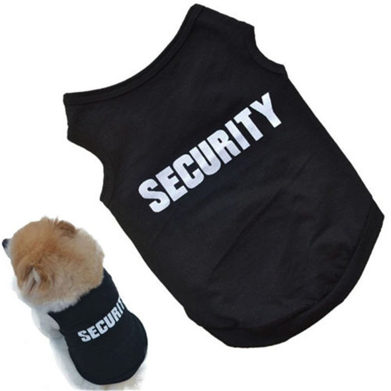 2018 Newly Design SECURITY Black Dog Vest Summer Pets Dogs Cotton Clothes Shirts Apparel Ropa Para Perros Summer Dog Clothes