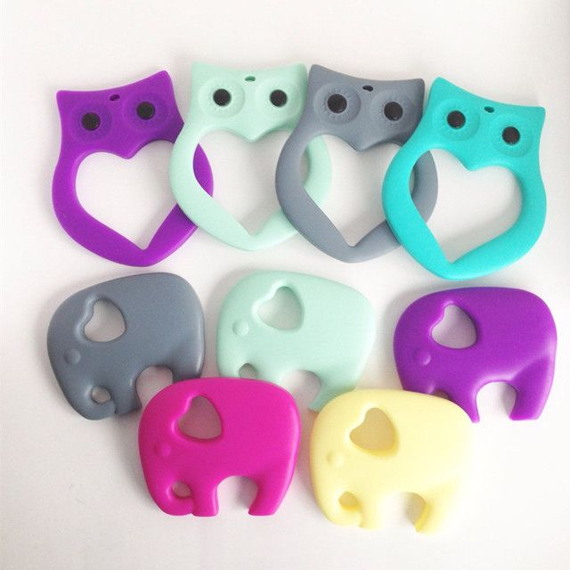 MIYOCAR BPA free FDA Food grade Silicone Elephant Teether Owl Teether Baby Toy Owl Teething Baby, Elephant Silicone Teether