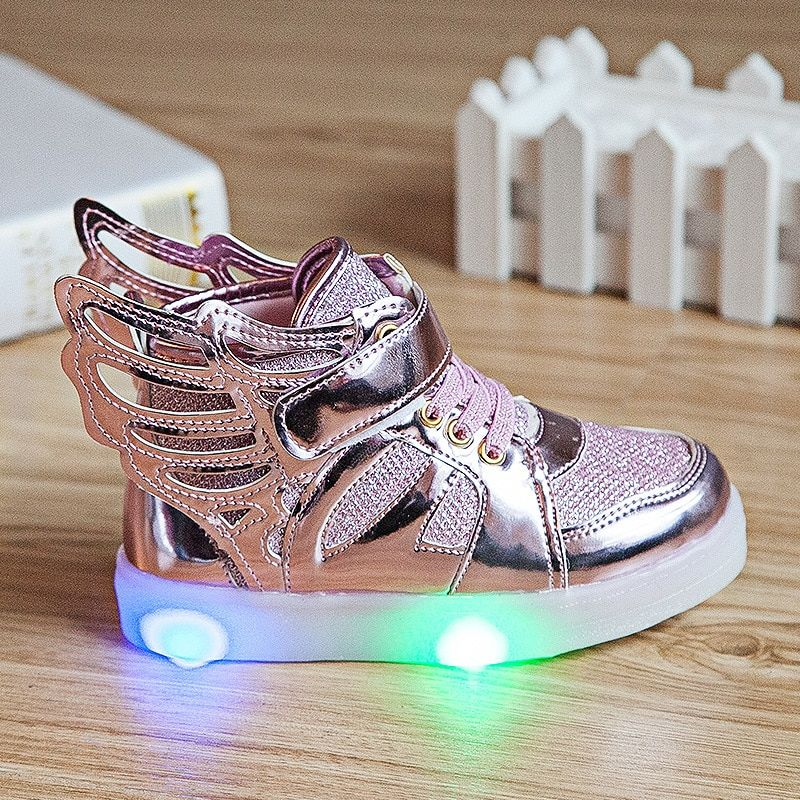New Boys Girls Children Led Kids Light Up Sports Shoes Luminous Glowing PU Breathable Sneakers Flats With Heels Shoes Size 21-30