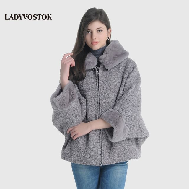 LADYVOSTOK Hooded Fur Collar Zipper Bat Sleeve Short Mink Fur Splice Women Winter Jacket Wool Coat Sheepskin Coat GY842