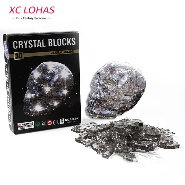 50 pcs/Set 3D Flash Skull Crystal Puzzle Funny Adult Puzzle DIY  Skeleton Model Cool Decoration For Home Educational Toys