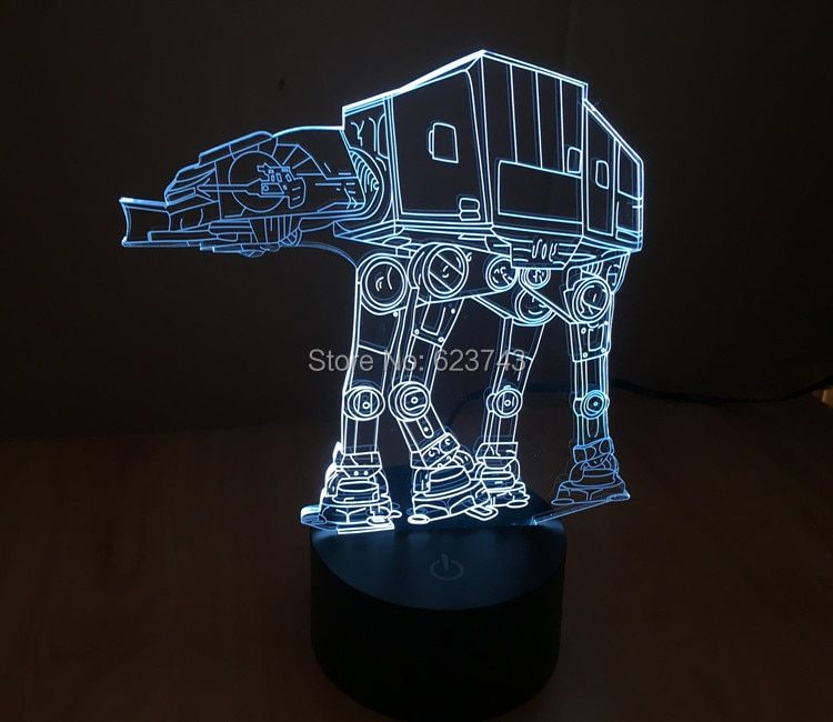 Free Shipping 1 Piece SmartTouch Mood light colorful Imperial Walker AT-AT Star Wars Table Lamp 3D Engraving LED night light