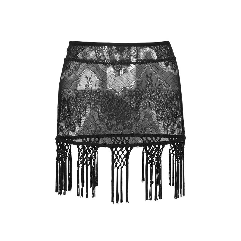 Steam Punk Black Tassel Lace Short Skirt Women's Fashion Summer Sexy Half Transparent Mini Skirt With A Low Waist A-line Q-255