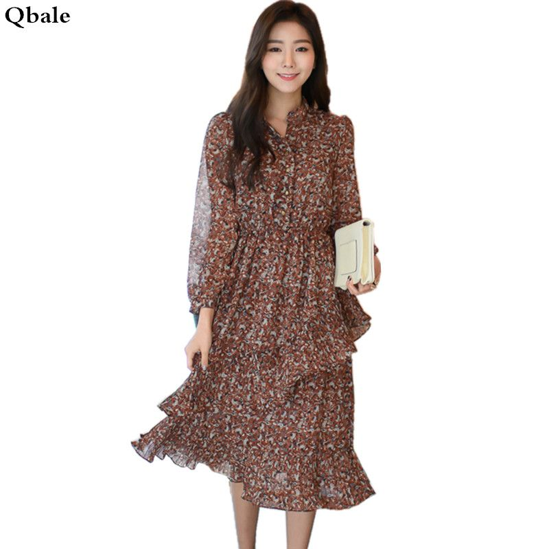2017 Spring Korean Fashion Asymmetrical Ladies Long Sleeve Dresses Midi Length Pleated Cake Layered Women Chiffon Floral Dress