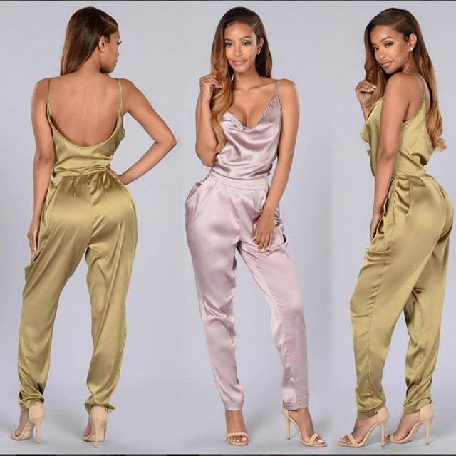 2016 Women New Backless Elegant Jumpsuit Sexy Spaghetti Romper Jumpsuit Summer Hollow Out V-Neck Full Length Casual Playsuit