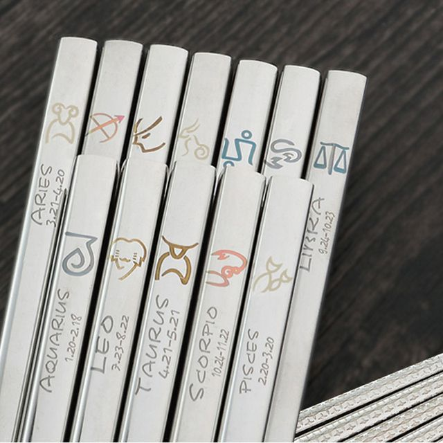 304 Stainless Steel Korean Chopsticks Zodiac patterns Personalized Laser Engraving Patterns 12 styles