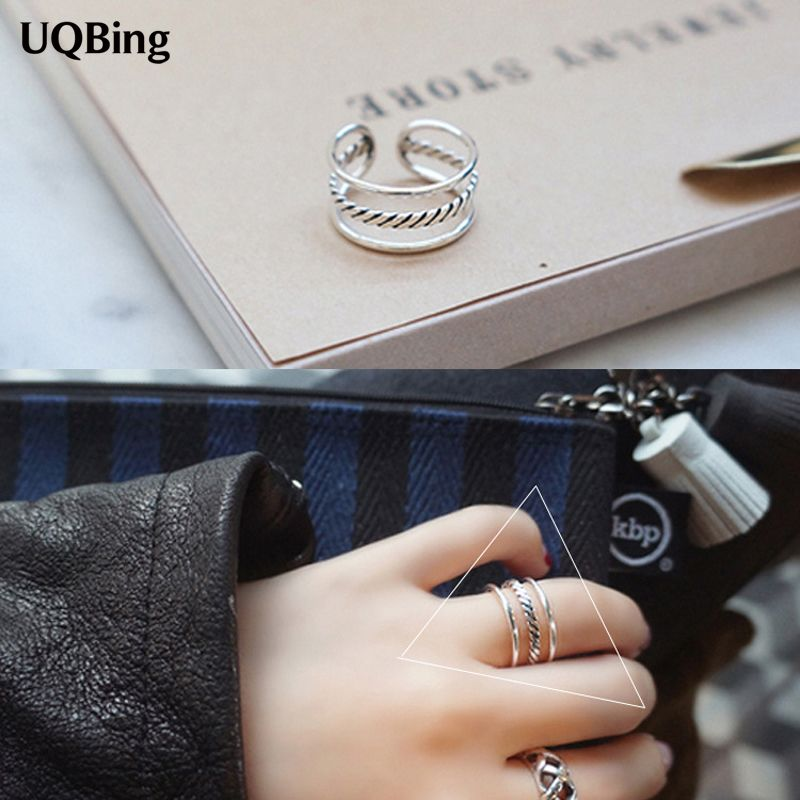 2019 New Arrival Retro Vintage Layer Ring Fashion 925 Silver Open Rings For Women Party Gift Anel Prata Sale