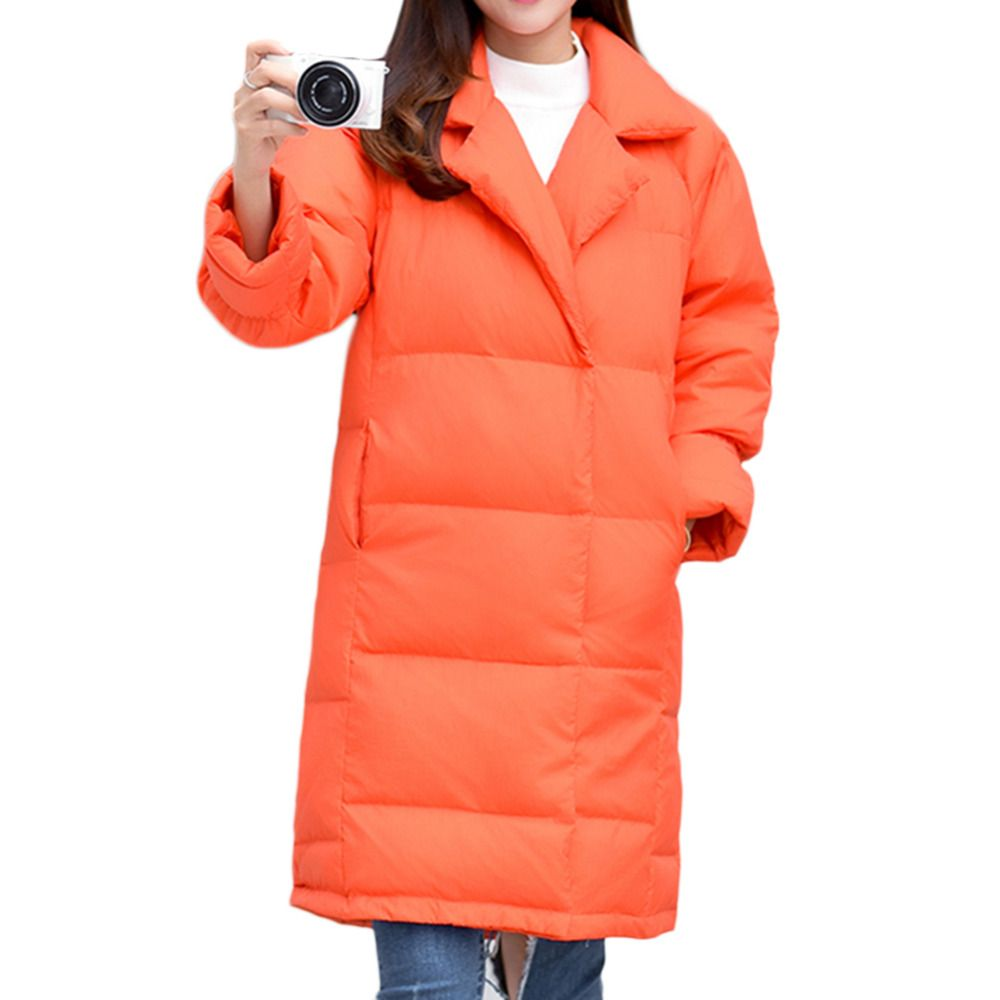 Women's Winter Down jackets,thick warm jacket,Solid color duck down filling Loose long coat for women lady's fashion outwear
