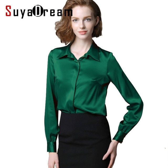 Women real silk Blouse long sleeve Solid shirt Blusas femininas Office lady style Simple button shirt CUSTOM MADE Plus size