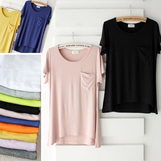 explosion High Elasticity models female candy color cotton t-shirt solid color clothing Pocket t-shirt women summer top tees
