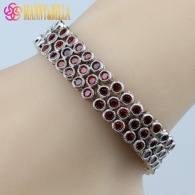 925 Sterling Silver Jewelry Top Quality Red Garnet Health Fashion Bracelet For Women Free Jewelry Box SL148
