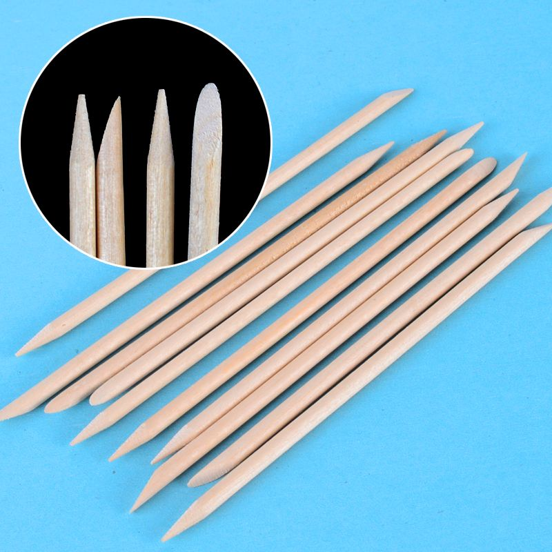 10pcs/packs 11.3cm Orange Wood Stick Cuticle Pusher Remover Nail Designs Nail Art Stick Wooden Manicure Tools