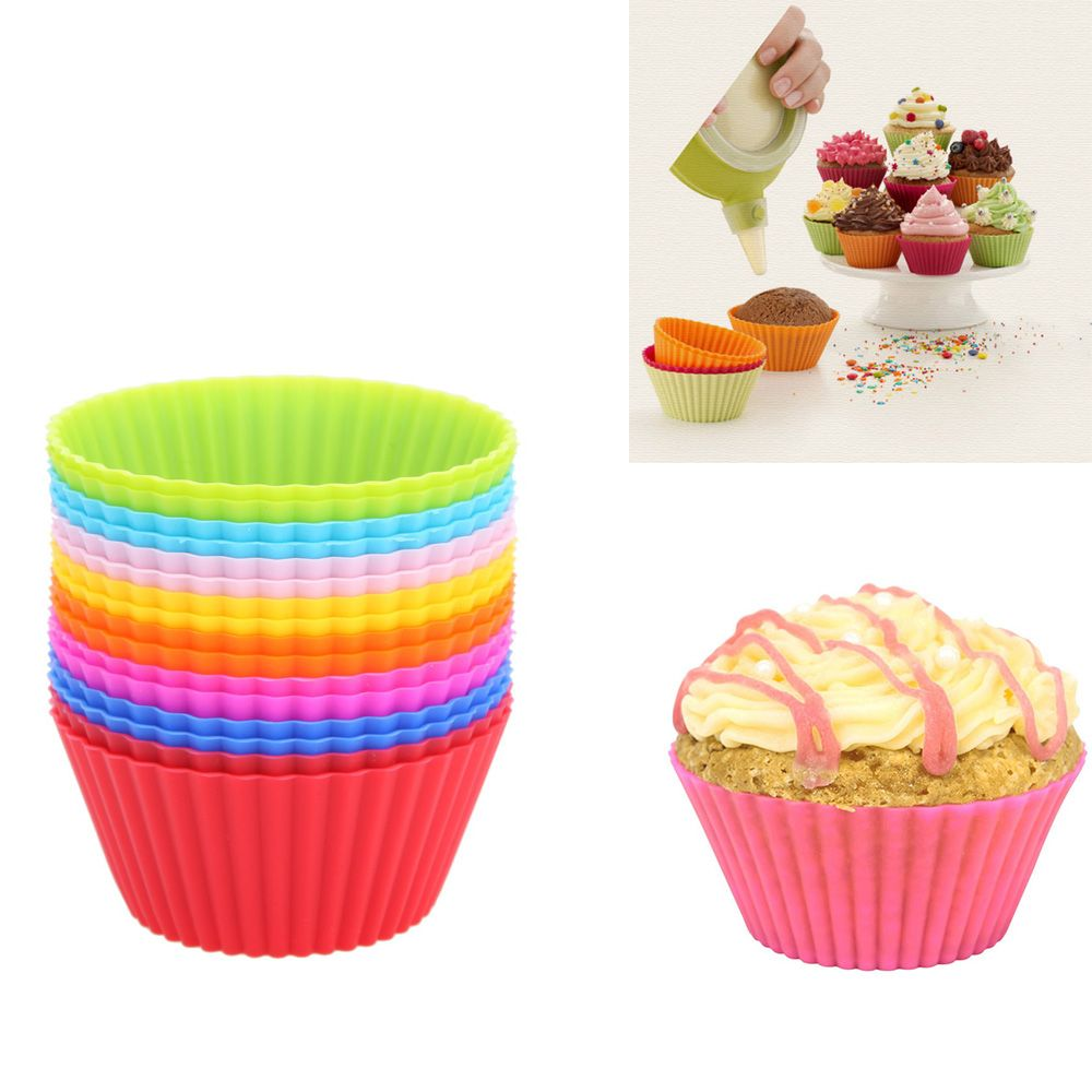 16pcs/lot 7cm Muffin Cupcake Mould Colorful Round Shape Silicone Cupcake Mould Bakeware Maker Mold Tray Baking Cup Liner Molds