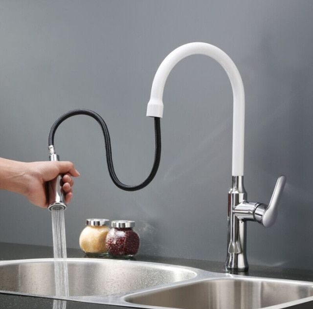 Pull Type Kitchen Sink Faucet Baking White Hot And Cold Wash Basin Faucet