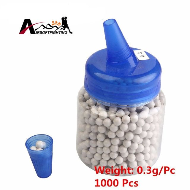 0.2g 0.25g 0.3g Airsoft Hunting BB Balls 1000 Rounds Portable Bottle Storage Plastic BB Strike Ball Airsoft CS Game Gun Beads