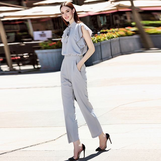 Streetwear Jumpsuits 2016 Summer New Fashion Daily Solid Light Grey Pockets Bow Collar Woman Jumpsuits