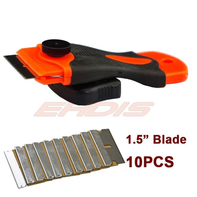 EHDIS Car Snow Shovel Razor Scraper with 10pcs 1.5 inch Blades Window Glue Spare Air Remover Ice Scraper Razor Blade Scraper