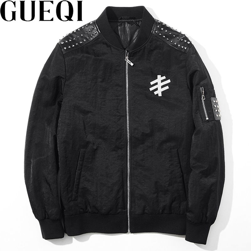 GUEQI Men Black Aviator Jackets Plus Size M-3XL Rivet Decoration PU Leather Patchwork Man Casual Coats