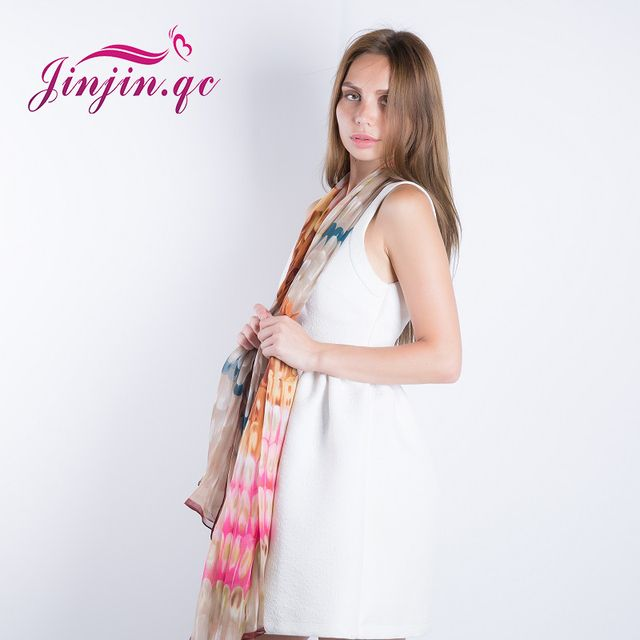 [Jinjin.QC] 2017 High Quality Feather Silk Scarf Big Size 180X110cm Chiffon Women Scarves and Shawls Echarpe Foulard Femme JJ020