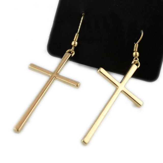 Newest 2015 Fashion Drop Earrings Cross Shape Vintage Silver Gold Color For Women