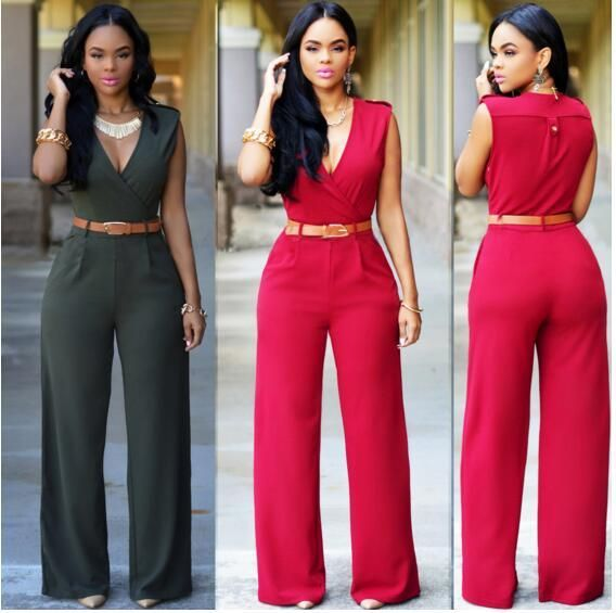 Fashion Women Jumpsuits Spring Autumn Solid Color Bodysuit sleeveless V Neck Casual Style Elegant Ladies Long Romper with belt